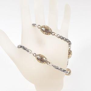 Premier Designs Double Strand Bracelet Silver Gold